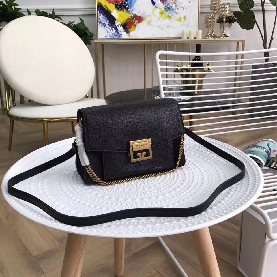 GIVENCHY GV3 leather and suede shoulder bag 9333 black