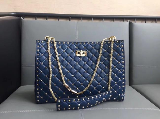 Valentino Starry Series Shopping Bag Original Sheepskin Leather 0346 blue