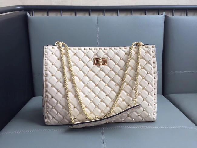 Valentino Starry Series Shopping Bag Original Sheepskin Leather 0346 off-white