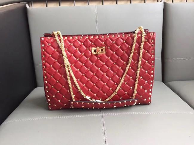 Valentino Starry Series Shopping Bag Original Sheepskin Leather 0346 red