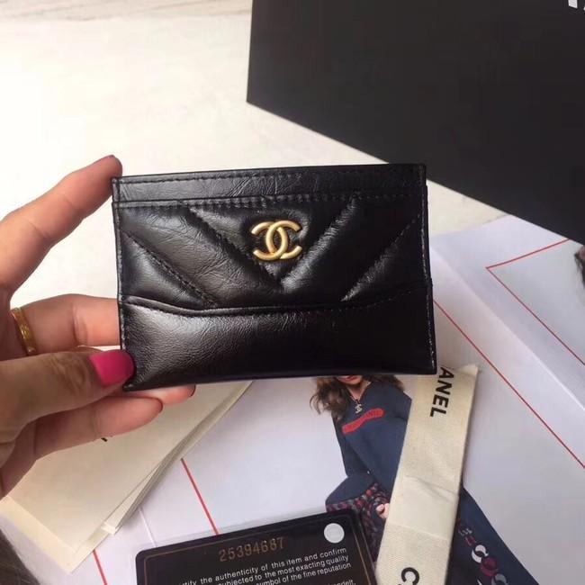 Chanel card holder Aged Calfskin A84386 black