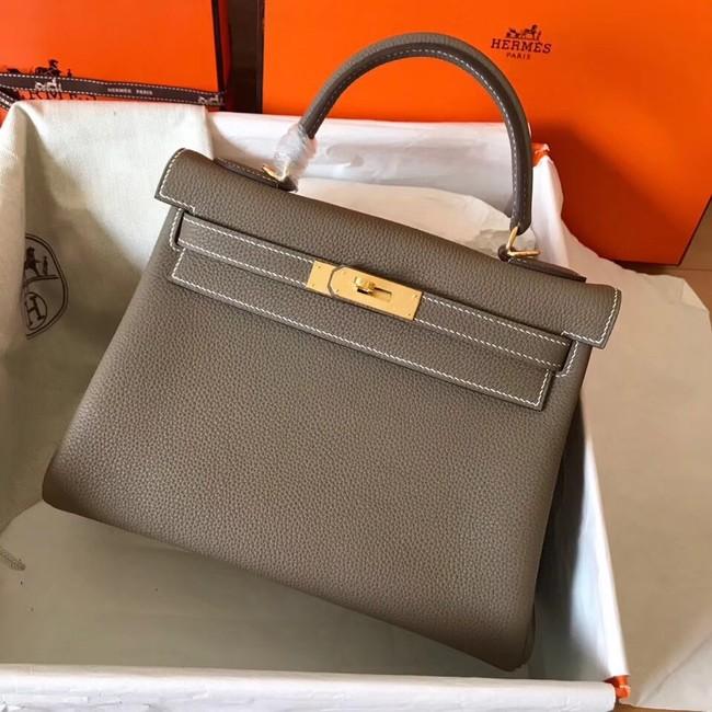 Hermes original Togo leather kelly bag KL320 dark grey