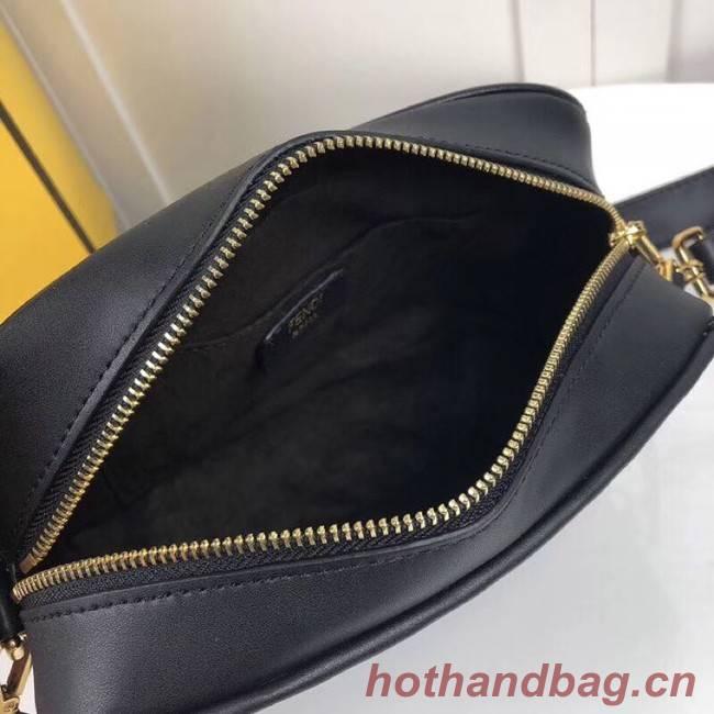 Fendi MINI CAMERA CASE Black leather bag 8BS019A