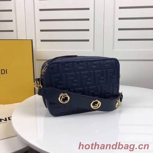 Fendi MINI CAMERA CASE leather bag 8BS019A blue
