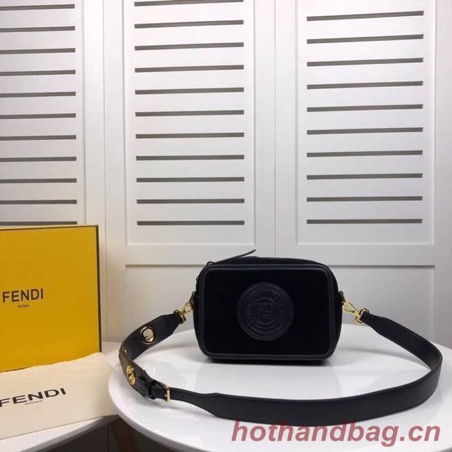 Fendi MINI CAMERA CASE suede bag 8BS019A black