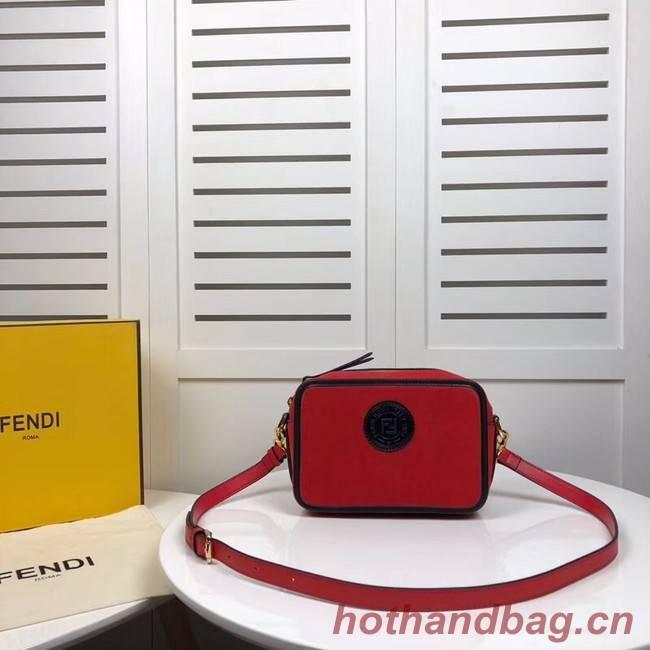 Fendi MINI CAMERA CASE suede bag 8BS019A red