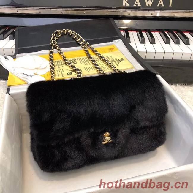 Chanel mini flap bag Rabbit hair Gold-Tone 1116 black