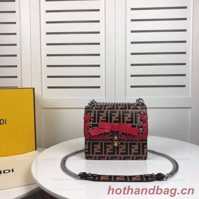 Fendi KAN I F Brown leather bag 8HF823 brown