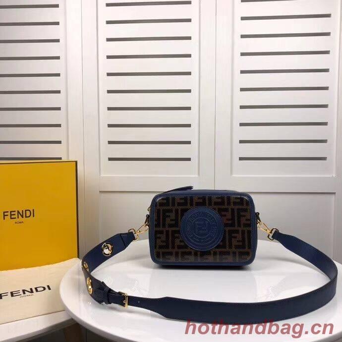 Fendi MINI CAMERA CASE Multicolor canvas bag 8BF097 blue