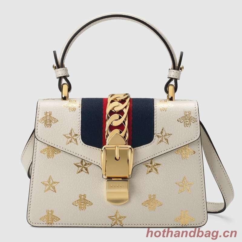 Gucci Sylvie Bee Star mini leather bag 470270 white