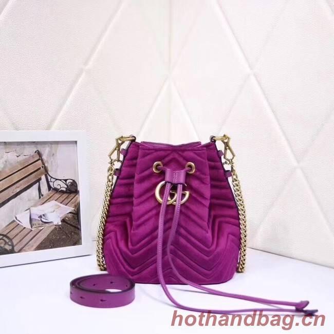 Gucci Ophidia GG bucket bag velvet 525081 Fuchsia