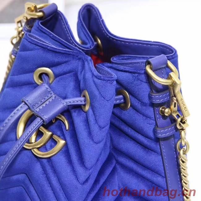 Gucci Ophidia Gg Bucket Bag Velvet 525081 Blue 525081