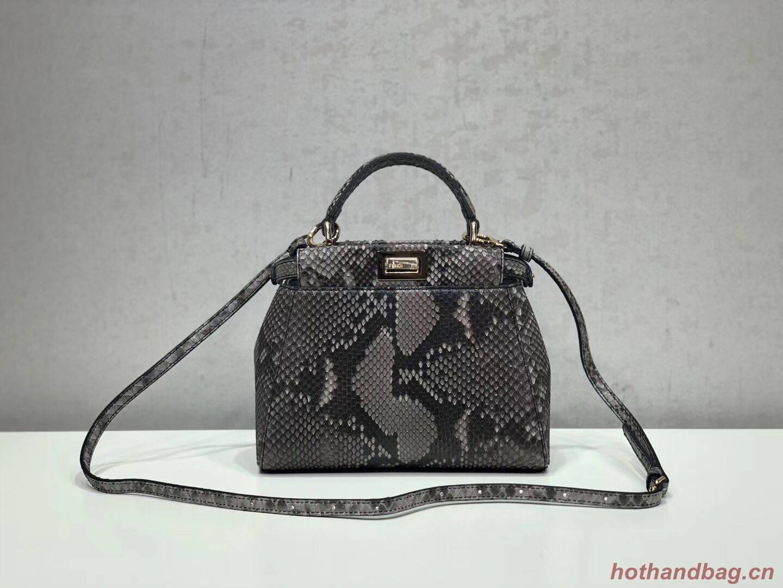 Fendi MINI PEEKABOO Handbag asphalt-grey pytho 8BN244K