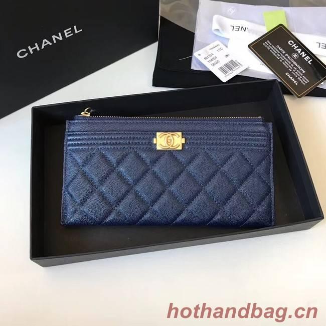Chanel boy chanel pouch Calfskin & Gold-Tone Metal A81254 blue