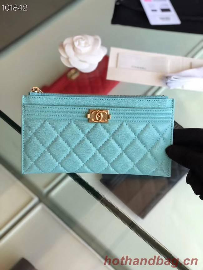 Chanel boy chanel pouch Calfskin & Gold-Tone Metal A81254 sky blue