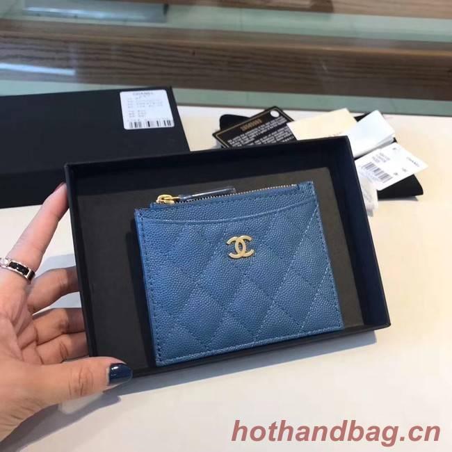 Chanel Coin Purse Metallic Grained Lambskin & gold-Tone Metal A68996 blue