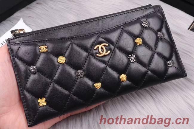 Chanel Lambskin & Gold-Tone Metal A81797 black