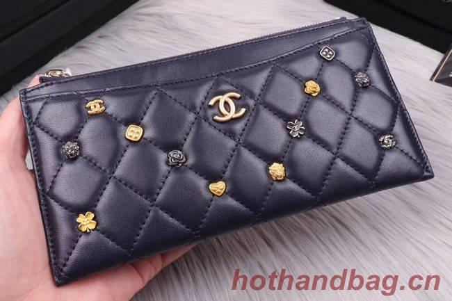 Chanel Lambskin & Gold-Tone Metal A81797 dark blue
