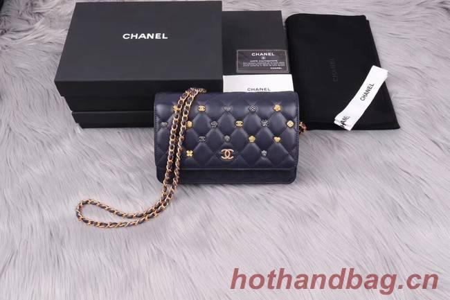 Chanel wallet on chain Lambskin & Gold-Tone Metal A81618 dark blue