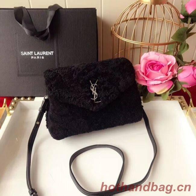 SAINT LAURENT Lambswool leather quilted shoulder bag Y538025 black