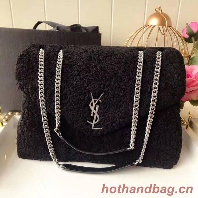 SAINT LAURENT Lambswool leather quilted shoulder bag Y538027 black