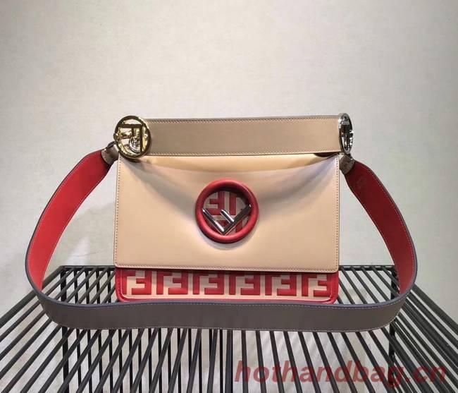 FENDI Kan I Leather Shoulder Bag 8BT284 Apricot&red