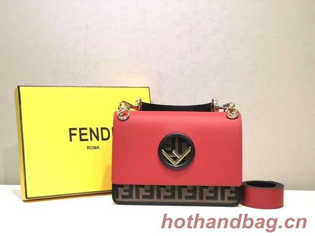 FENDI Kan I Leather Shoulder Bag 8BT284 red