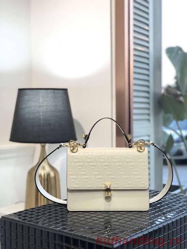 FENDI Kan I Leather Shoulder Bag 8BT283A white