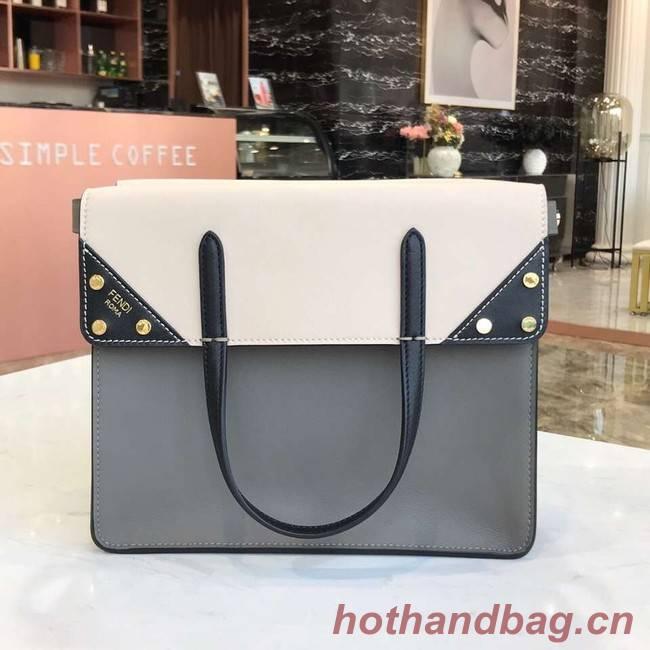 FENDI FLIP REGULAR Multicolor leather and suede bag 8BT302A grey&white