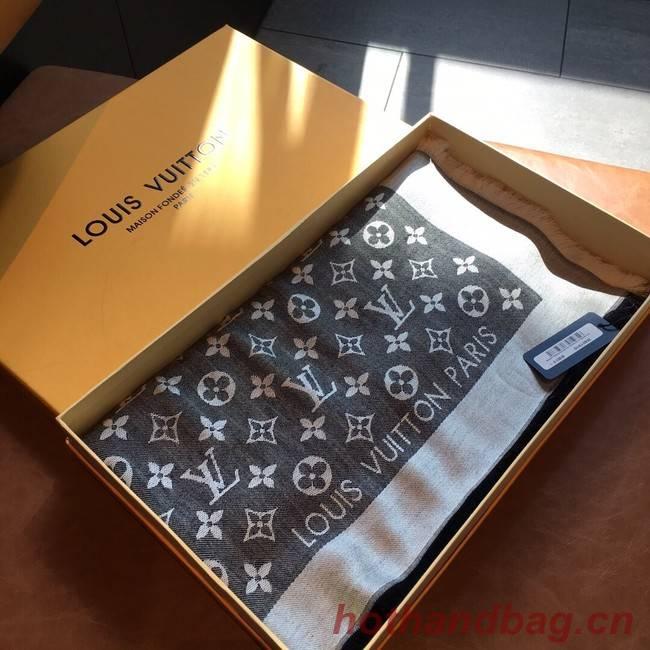 Louis Vuitton MONACO SQUARE Monogram flower pattern silk M71151 grey