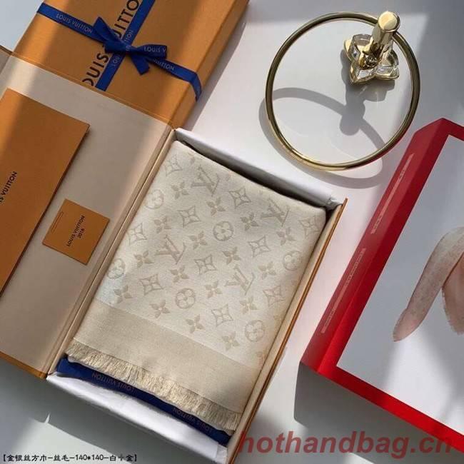 Louis Vuitton MONACO SQUARE Monogram flower pattern silk M71151 off-white