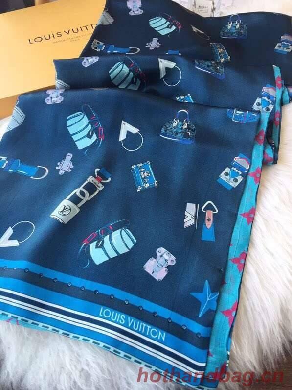 Louis Vuitton silk Scarf M71429 blue