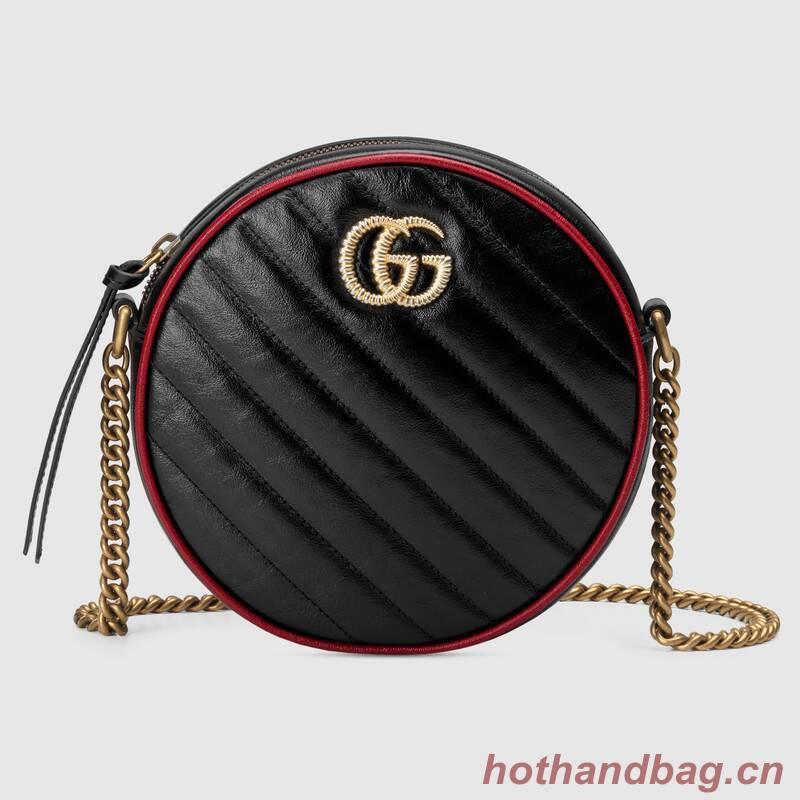 Gucci GG Marmont mini round shoulder bag 550154 black