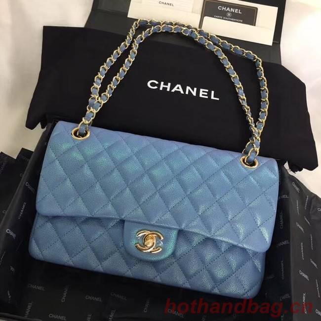 Chanel Calfskin & Gold-Tone Metal A01112 blue