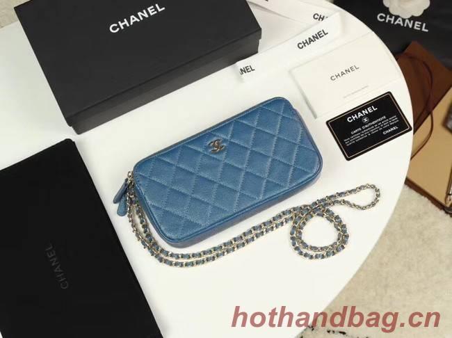 Chanel Calfskin & Gold-Tone Metal A82527 blue