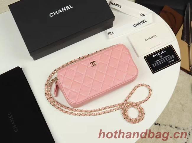 Chanel Calfskin & Gold-Tone Metal A82527 pink