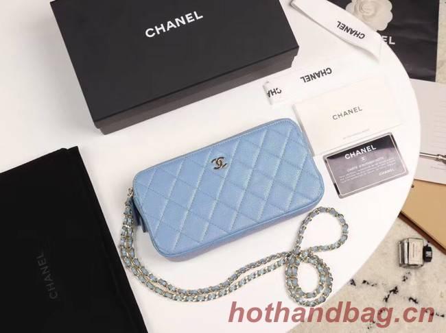 Chanel Calfskin & Gold-Tone Metal A82527 sky blue
