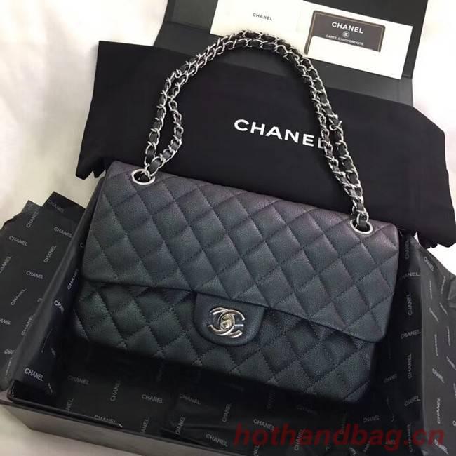 Chanel Calfskin & Silver-Tone Metal A01112 black